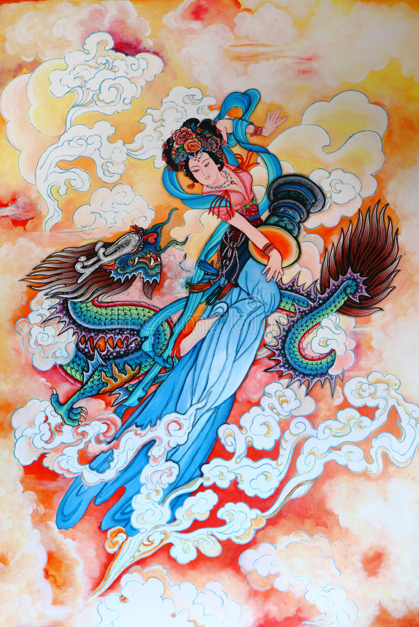 Tradition Chinese painting on wall. Tradition Chinese painting on Chinese temple wall at Chonburi province Thailand royalty free illustration