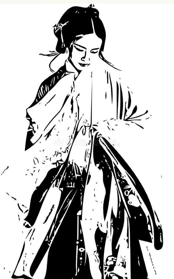 Tradition clothes. Tradition. Geisha, japan, japanese, culture, traditional, woman, asian, kimono, asia, girl, female, beautiful, beauty, fashion, tradition, art stock illustration