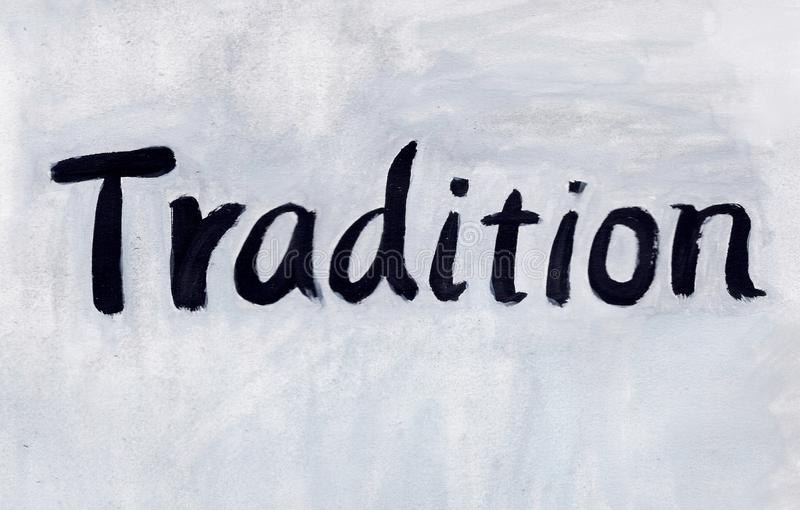 Tradition. Word concept background gouache paint royalty free illustration
