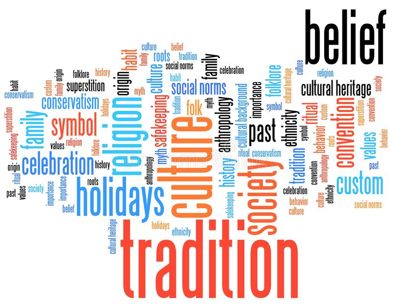 Tradition. And culture issues and concepts word cloud illustration. Word collage concept stock illustration
