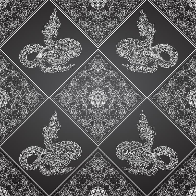 Tradition för abstrakt begrepp för konungorm thai royaltyfri illustrationer
