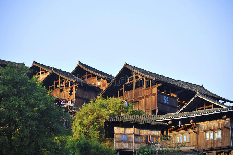 Tradition Miao type wooden house. In Leishan county, Guizhou province, China royalty free stock photo