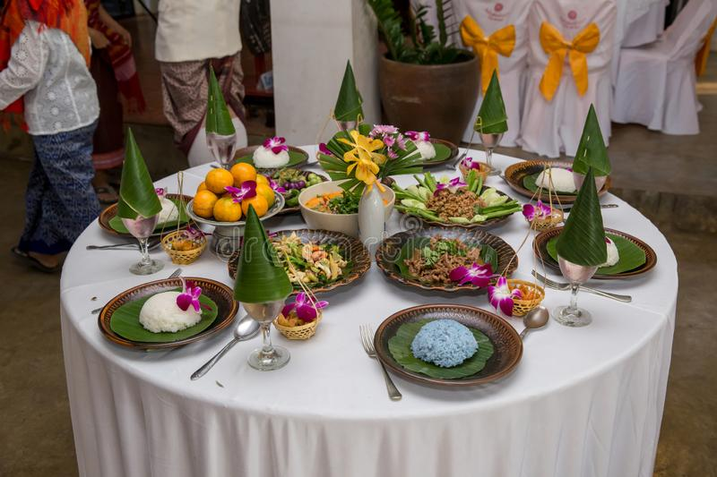 Tradition Northern Thai food. on a wooden table, Set of Thai food popular menu. stock photos