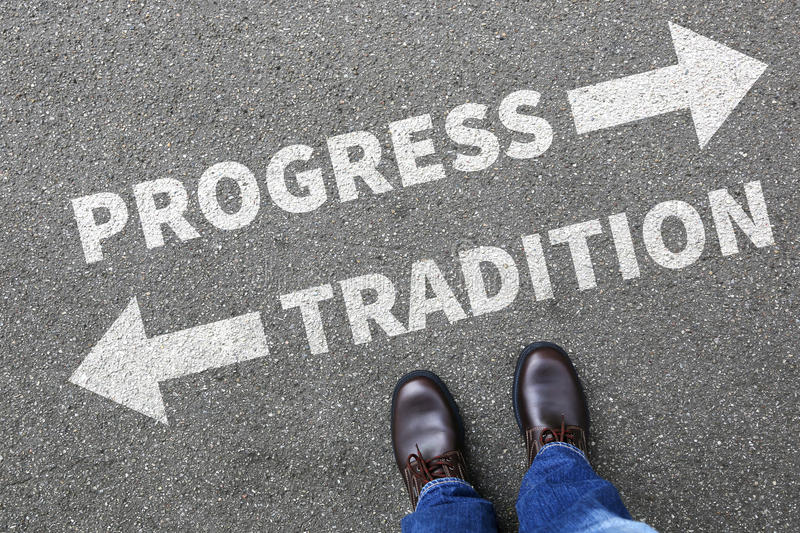 Tradition progress future management assessment analysis company royalty free stock images