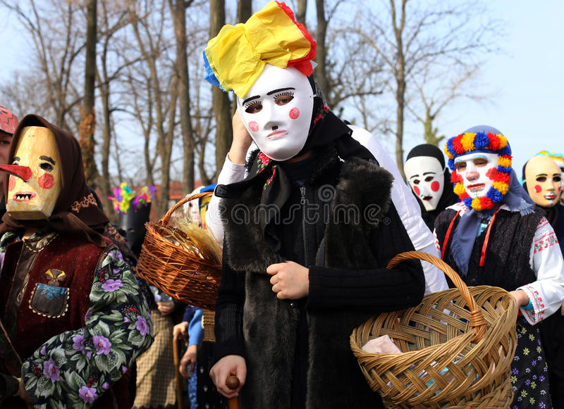 TRADITION IN ROMANIA - ``CUCKOOS FESTIVAL``. ``Cuckoos Festival`` is a ceremonial of fertility and purification of space and time with Thracian provenance wich stock images