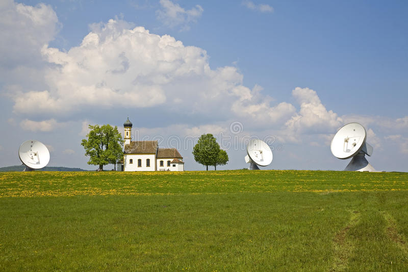 Tradition and technology. In Raisting in Bavaria stock images