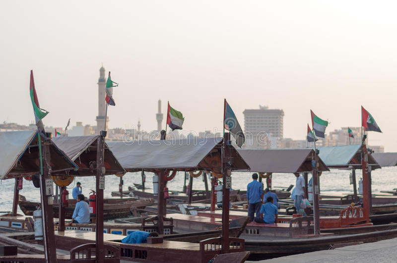Traditional Abra ferries at the creek in Dubai, United Arab Emirates royalty free stock image