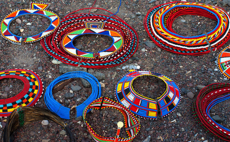 Traditional african necklaces stock photography