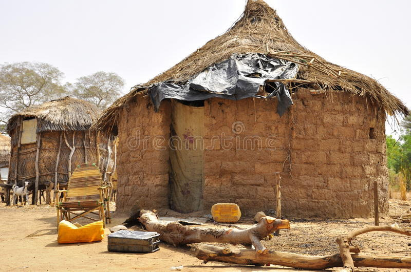 Traditional african village houses in Niger stock photo