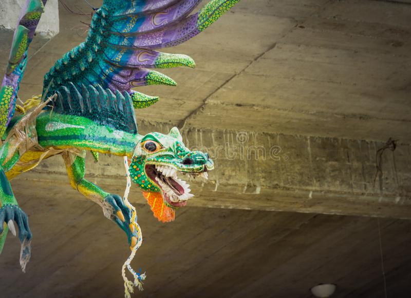 Traditional alebrijes handcrafts from indigenous artisans of Oaxaca mexico royalty free stock image