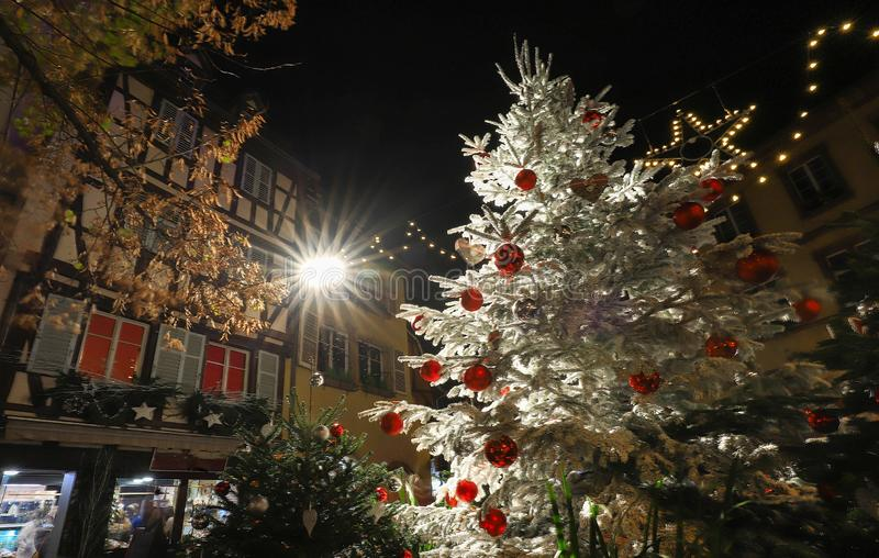 Traditional Alsatian half-timbered houses in old town of Colmar, decorated for christmas time, Alsace, France stock image