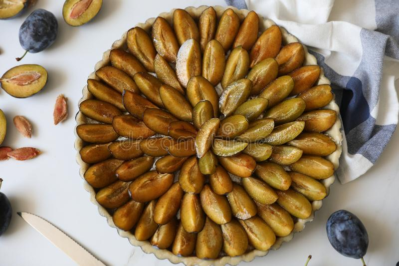 Traditional Alsatian Plum tart French: Tarte aux quetsches alsacienne . Top view. Top view of delicious Traditional Alsatian Plum tart French: Tarte aux royalty free stock image
