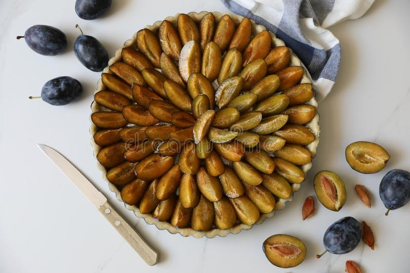 Traditional Alsatian Plum tart French: Tarte aux quetsches alsacienne . Top view. Top view of delicious Traditional Alsatian Plum tart French: Tarte aux stock photos