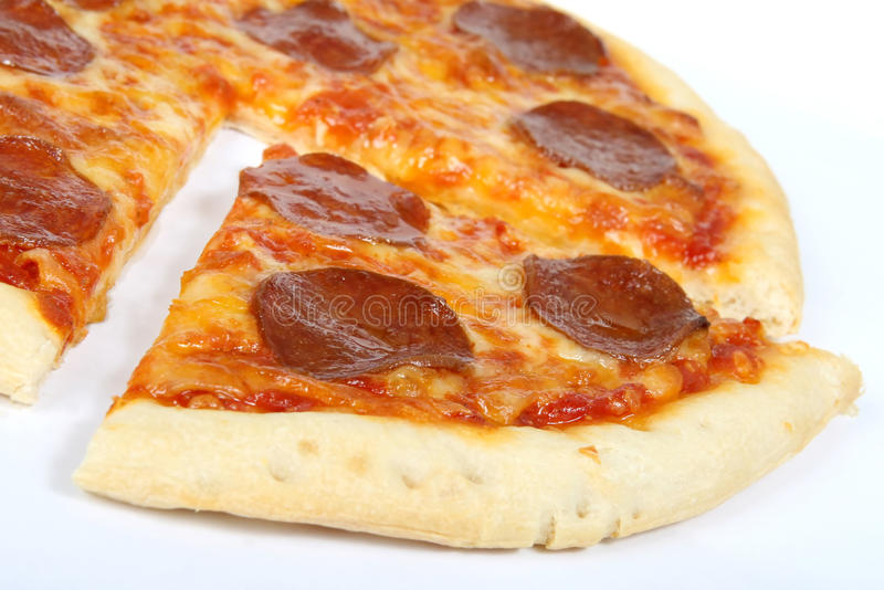 Traditional american/ italian cheese and pepperoni pizza royalty free stock photo