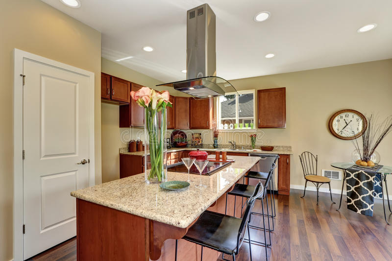 Traditional American kitchen featuring stainless steel appliances. Traditional American kitchen featuring stainless steel appliances, range hood, an island and stock photo