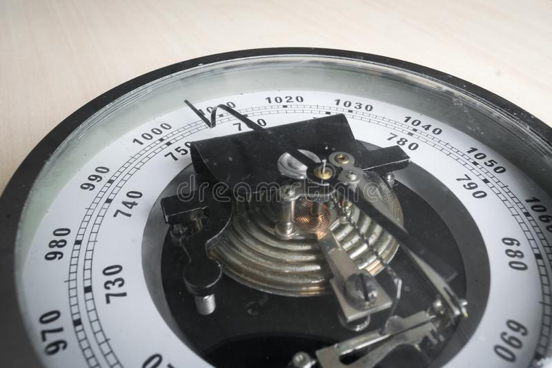 Traditional aneroid barometer for measuring air pressure stock image