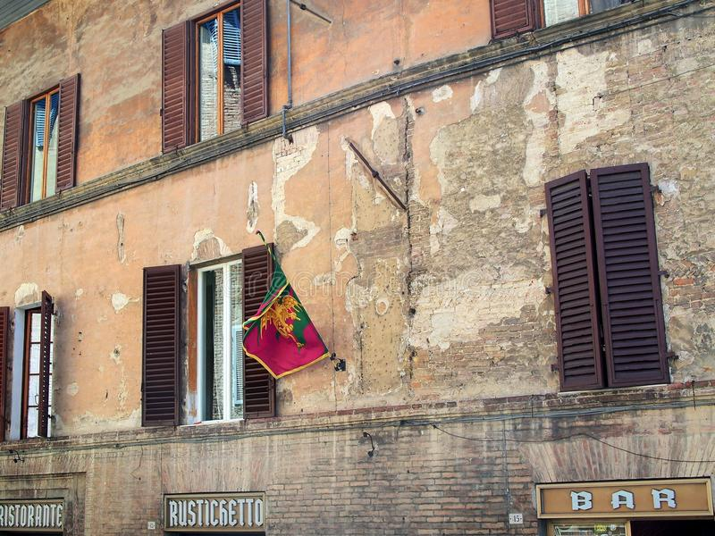 Traditional Apartment Buildings in Siena, Tuscany, Italy stock image