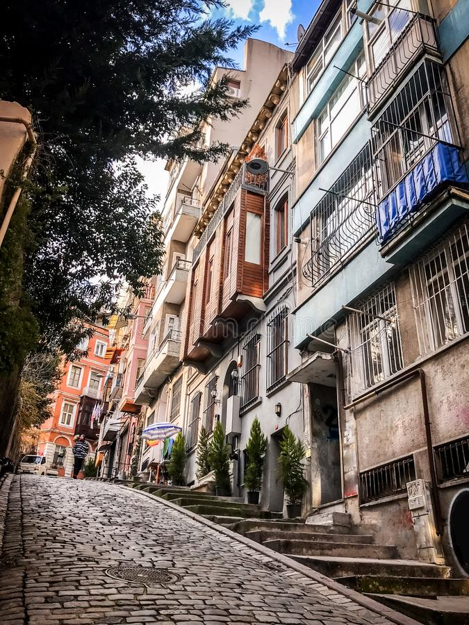 Traditional apartment buildings in Tophane district of Beyoglu, Istanbul. Istanbul, Turkey - January 10, 2019: Traditional apartment buildings in Tophane royalty free stock photos
