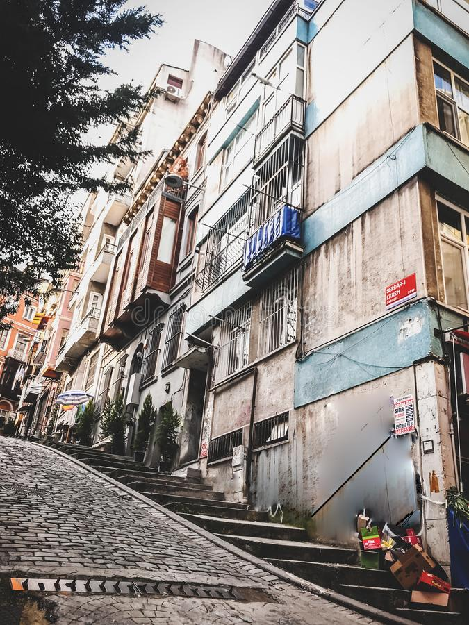 Traditional apartment buildings in Tophane district of Beyoglu, Istanbul. Istanbul, Turkey - January 10, 2019: Traditional apartment buildings in Tophane royalty free stock photo
