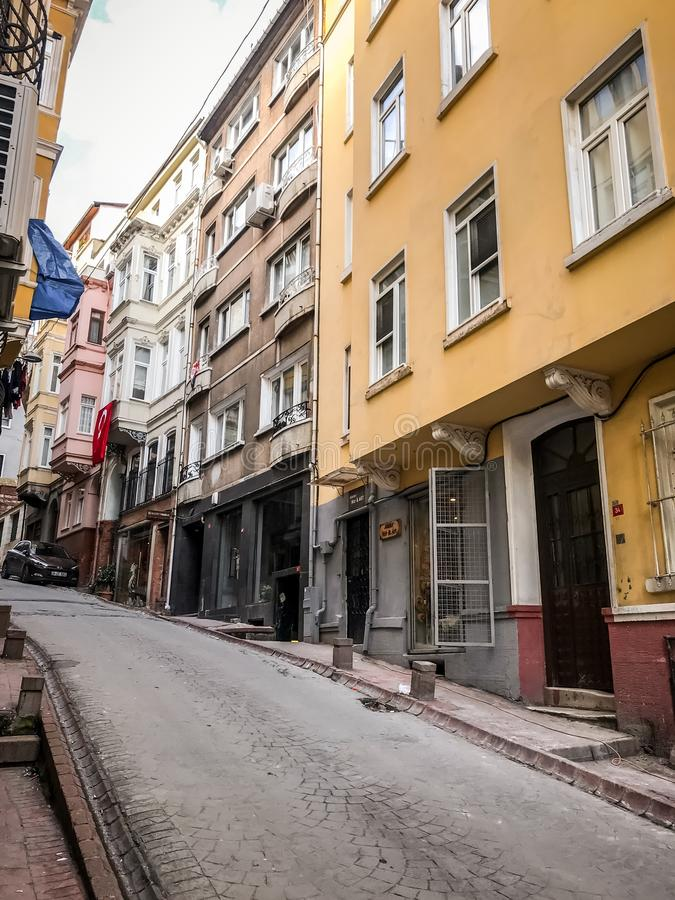 Traditional apartment buildings in Tophane district of Beyoglu, Istanbul. Istanbul, Turkey - January 10, 2019: Traditional apartment buildings in Tophane royalty free stock image