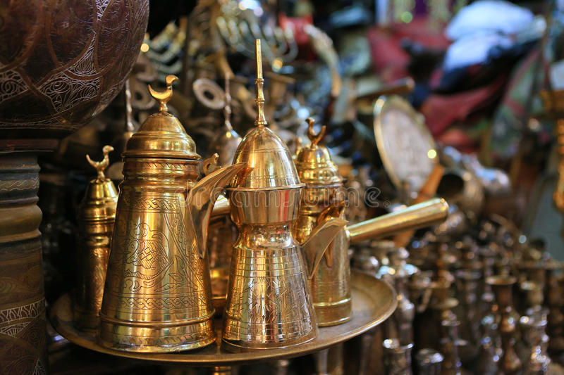 Traditional Arabic coffee sets with traditional coffee pot in th. E Arab market in Jerusalem stock photos