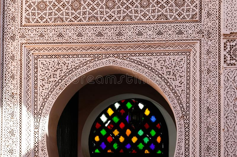 Traditional arabic Colorful Ancient style mosaic in interior elements. Abstract geometry, carved vintage pattern stock image