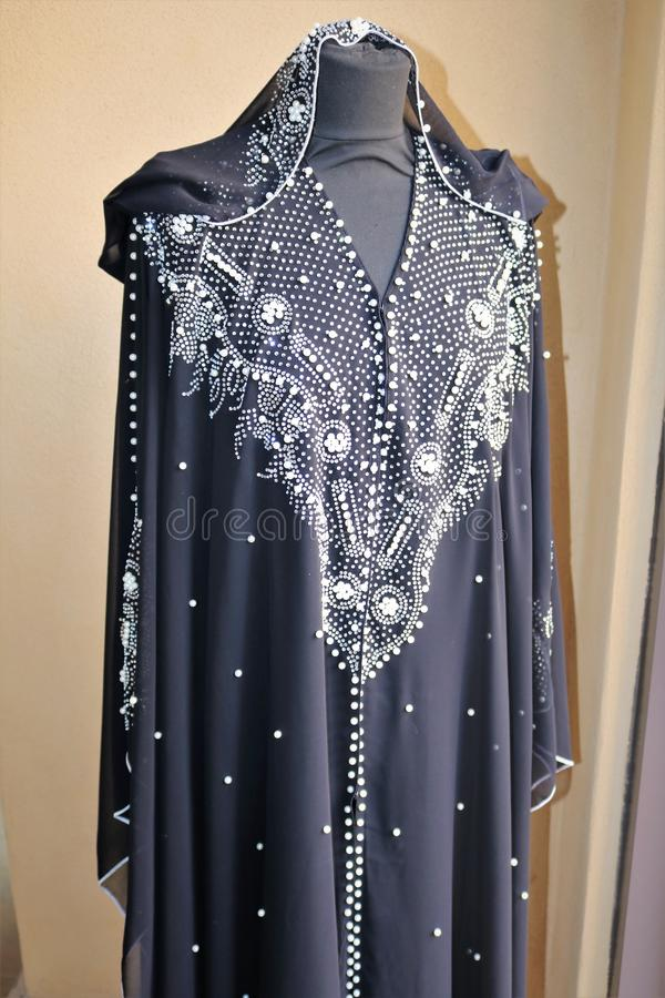 Traditional Arabic dress for women on the market in Dubai. royalty free stock photo