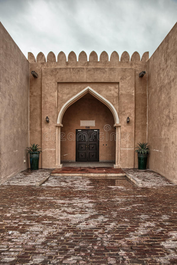 Traditional Arabic entry door in Doha, Qatar. royalty free stock images