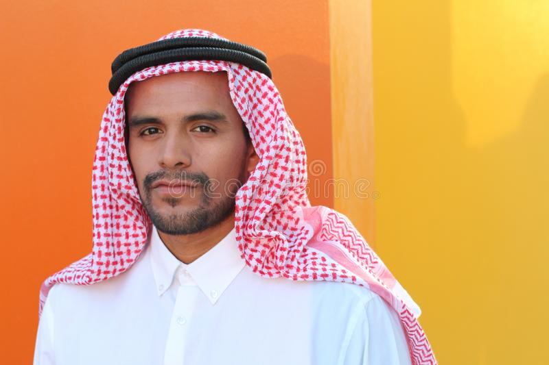 Traditional Arabic man with copy space stock image