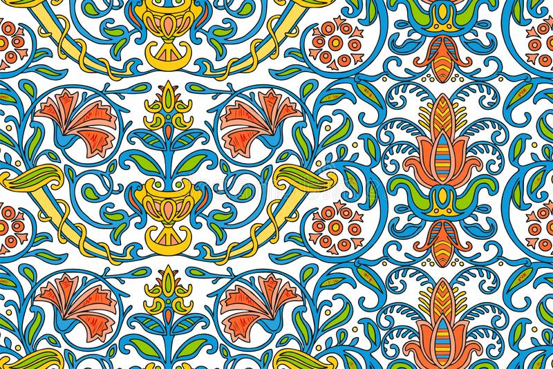 Traditional Arabic ornament seamless for your design. Floral ornamental seamless pattern for ceramic tile, desktop wallpaper, royalty free illustration