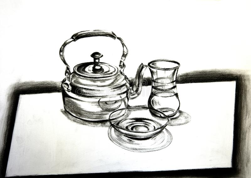 Traditional Arabic Tea set, a charcoal drawing stock images