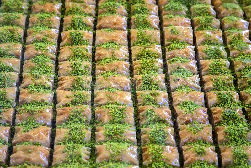 Turkish sweets with walnuts - baklava. Traditional arabic/turkish sweets with walnuts - baklava stock image