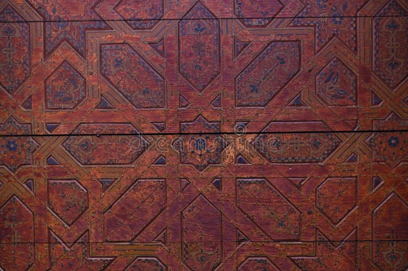 Traditional arabic Colorful Ancient style mosaic in interior elements. Abstract geometry, carved vintage pattern stock photos