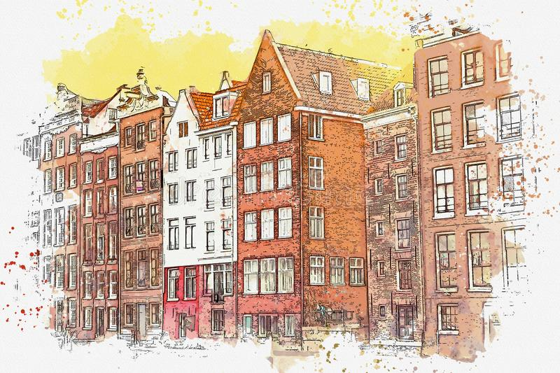 Traditional architecture in Amsterdam. Watercolor sketch or illustration of traditional architecture in Amsterdam in the Netherlands stock illustration