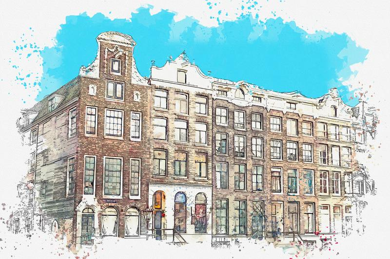 Traditional architecture in Amsterdam. Watercolor sketch or illustration of traditional architecture in Amsterdam in the Netherlands vector illustration