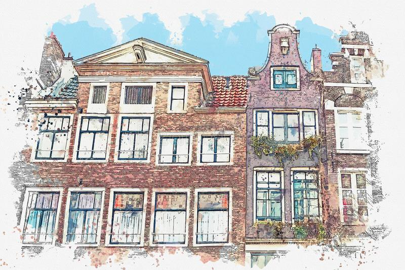Traditional architecture in Amsterdam. Watercolor sketch or illustration of traditional architecture in Amsterdam in the Netherlands royalty free illustration