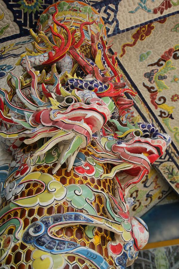 Traditional architecture with colourful dragons on the wall royalty free stock photography