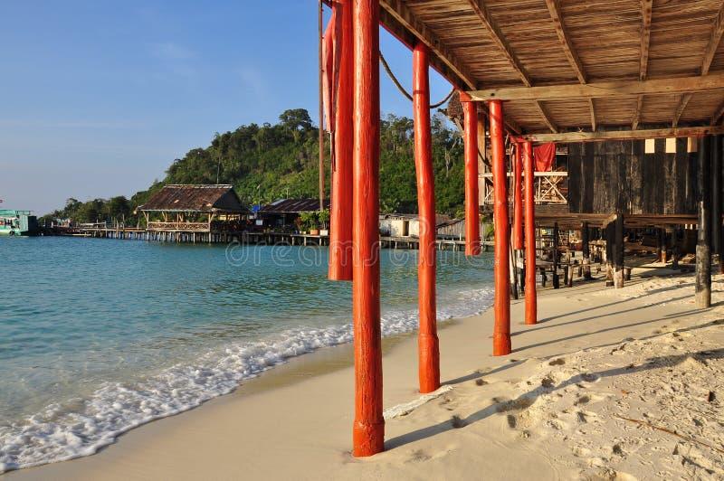 Koh Rong island beach, Cambodia. Traditional stilt house royalty free stock photo
