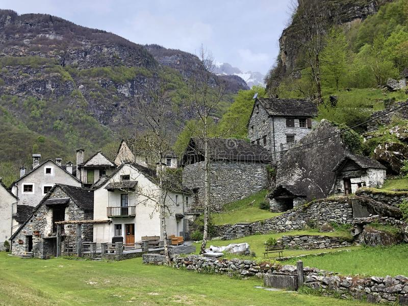 Traditional architecture and old houses in the hamlet of Ritorto The Bavona Valley or Valle Bavona, Val Bavona or Das Bavonatal. Canton of Ticino, Switzerland stock photos