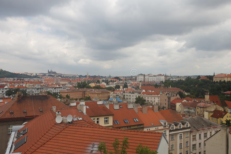 Traditional architecture of Prague. Aerial view of red roofs. Horizontal royalty free stock photography