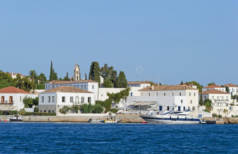 Traditional architecture at Spetses island, Greece stock images