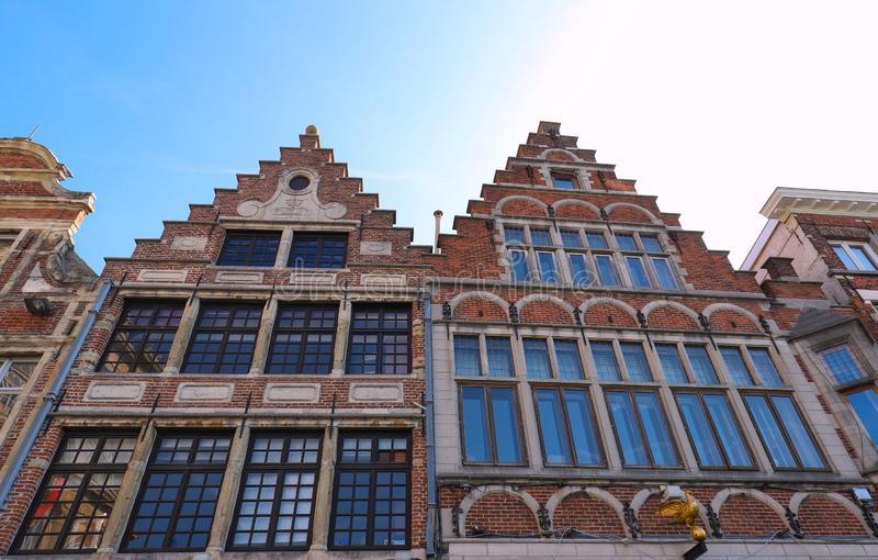 Traditional architecture with vivid facade of tall houses in Ghent. stock photography