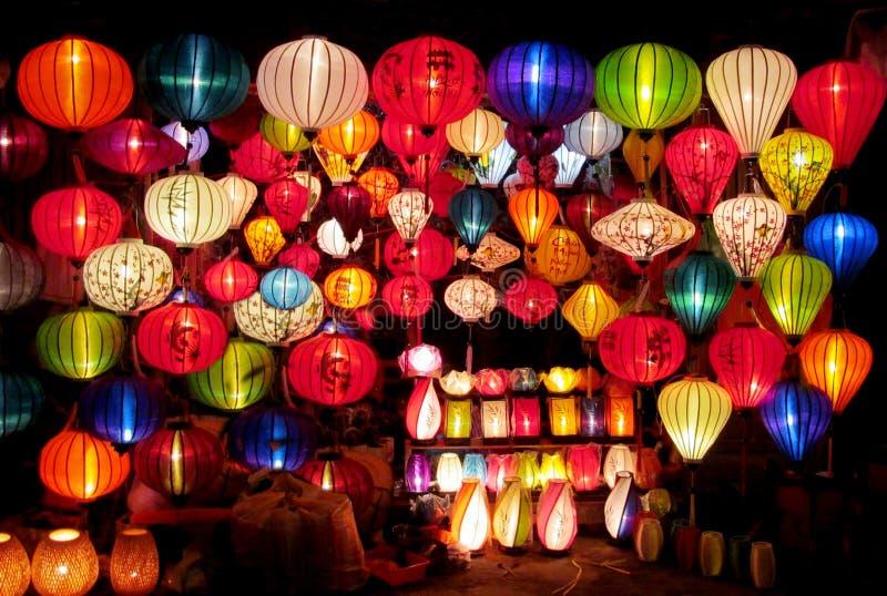Traditional asian culorful lanterns on chinese market stock image