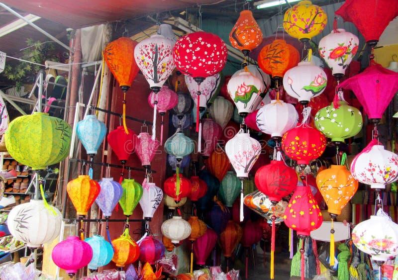 Traditional asian culorful lanterns on chinese market stock photo