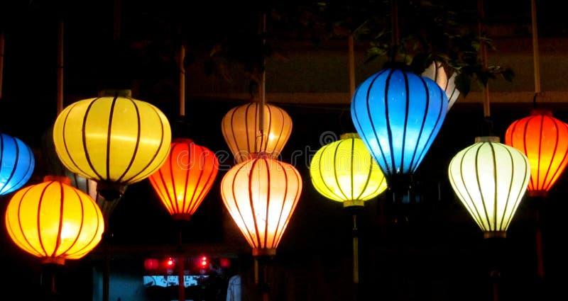 Traditional asian culorful lanterns at night chinese market stock photos