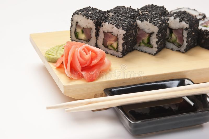 Traditional Asian food sushi stock photo