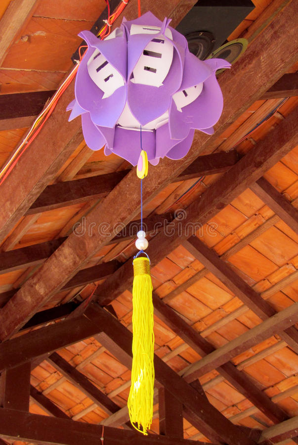 Traditional asian lantern in the courtyard of a Buddhist temple stock photography