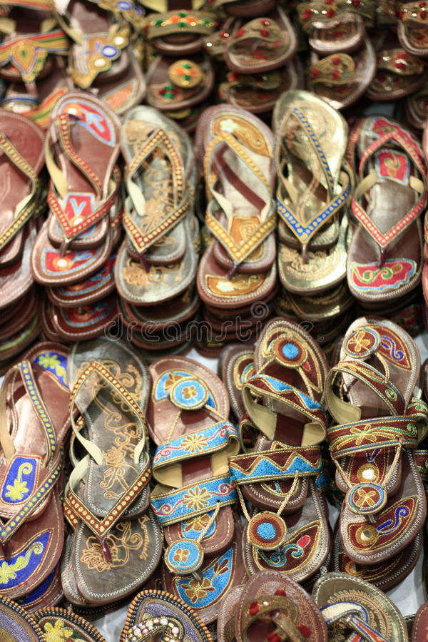 Traditional Asian Leather Handmade Slippers royalty free stock images