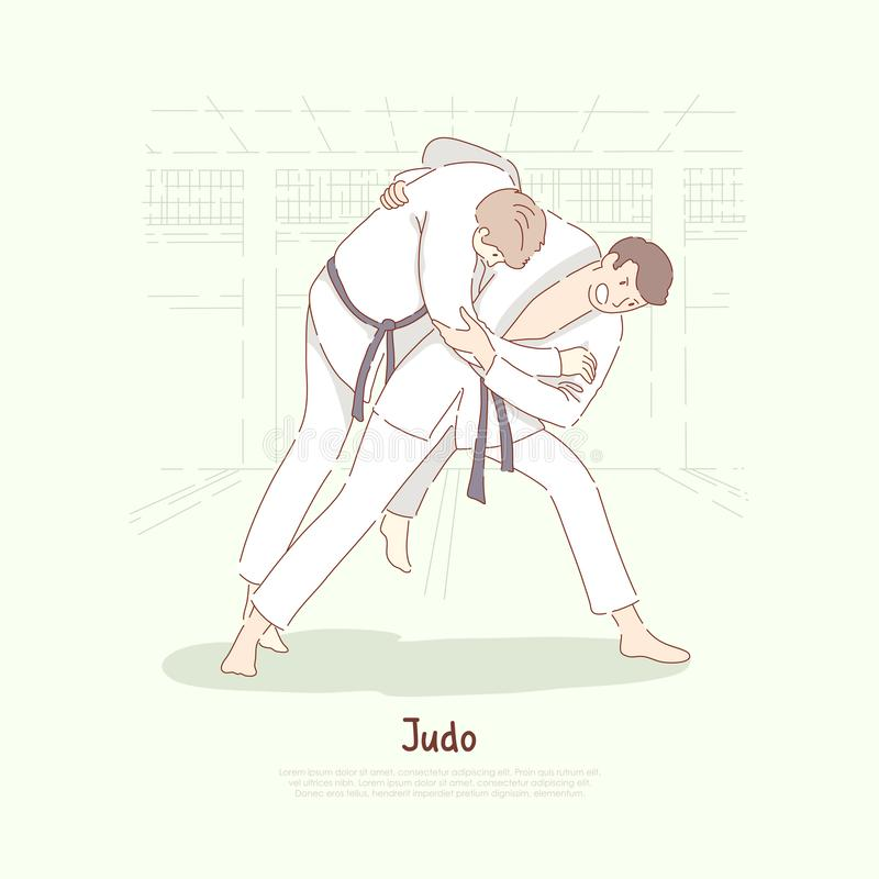 Traditional asian martial arts sparring, young men in kimono practicing footboard, self defence, judo school banner. Karate, single combat training concept vector illustration