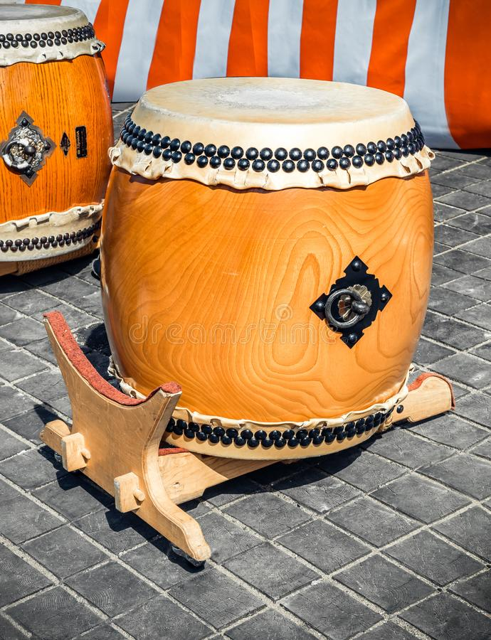 Traditional asian percussion instrument. Taiko or wadaiko or chu-daiko drum outdoor permormance stock images
